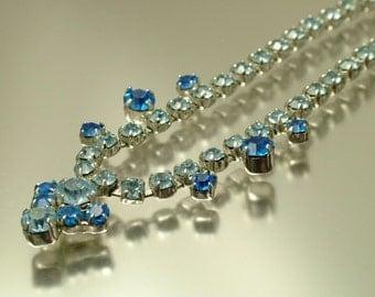 Vintage jewelry 1950s Art Deco glam chrome & pale blue / royal blue glass diamante rhinestone/ paste costume necklace -  jewellery