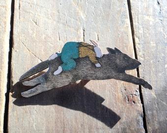 Vintage Rabbit Riding Wolf Fantasy Illustration Pin