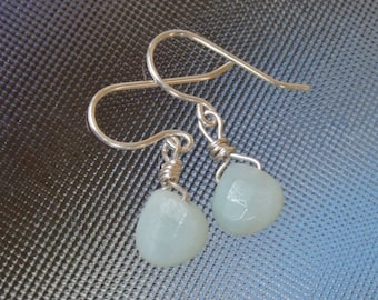 Amazonite pastel green teardrop Faceted wire wrapped sterling silver earrings
