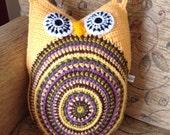 Colourful Crocheted Owl Cushion, Mini Owl Cushion, Crocheted Owl Cushion, Retro Cushion