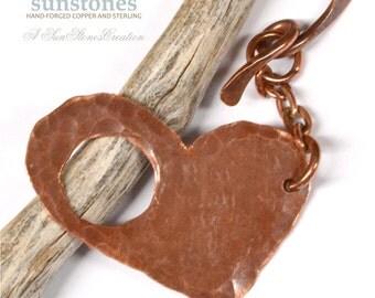 Handmade Rustic Heart Shaped Copper Toggle Clasp TC545