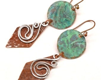 Rustic Copper  Earrings E721 - PRICE REDUCTION