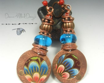 SRA Handmade LAMPWORK EARRINGS glass beads Donna Millard boho tribal turquoise blue etched copper hippie hip primitive bohemian gift her