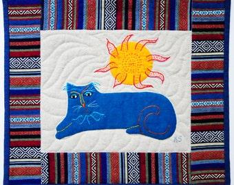 Sun Cat Art Quilt