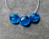 Electric Blue Apatite Faceted Heart Briolette - 5mm - 3 Beads