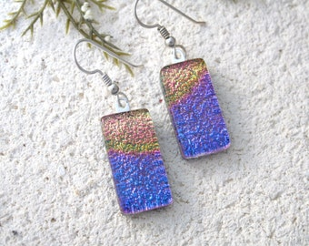 Pink Gold Earrings, Rainbow Earrings, Dangle Drop Earrings, Dichroic Glass Earrings, Fused Glass Jewelry, Sterling Earrings, 071216e100