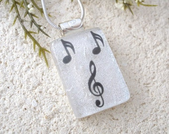 Petite Music Necklace, Treble Cleff, Notes, Dichroic Jewelry, Fused Dichroic Glass Pendant, Glass,Necklace, Dichroic Pendant, 090316p101