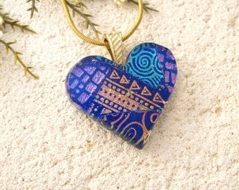 Rainbow Blue Heart Necklace, Dichroic Jewelry, Fused Glass Pendant, Necklace, Fused Glasss Jewelry, Glass Jewelry, Gold Necklace, 41816p2