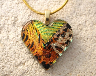 Golden Red Copper Heart, Heart Necklace, Fused Glass Jewelry, Dichroic Glass Jewelry, Necklace Included, Dichroic Heart Necklace, 051816p101