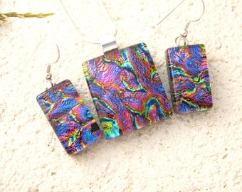 Purple Blue Pink Gold Necklace, Dichroic Fused Glass Jewelry,Necklace & Earring Set, Fused Glass Jewelry, Fused Glass Pendant, 052516ps101