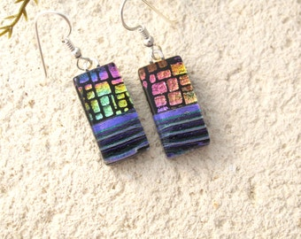 Purple Pink Gold  Earrings, Dichroic Glass Earrings, Fused Glass Jewelry, Dichroic Jewelry, Dangle Drop Earrings, Sterling,060316e101