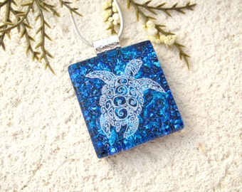 Turtle Necklace, Sea Turtle Necklace, Fused Glass Pendant, Dichroic Glass Jewelry, Fused Glass Jewelry, Cobalt & White Necklace, 061016p103