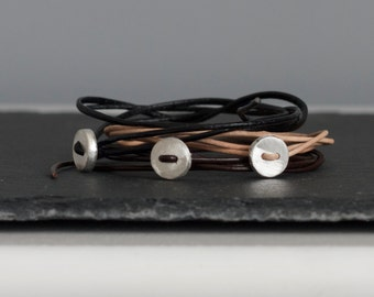 Leather Wrap Bracelet with Silver Button