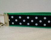 Polka Dot Key Chain - GREEN Dots Key Fob - Wrist Keychain - Large Key Fob - Handmade Key Ring