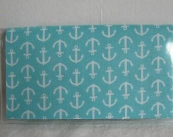 Nautical Checkbook Holder - Aqua Anchors Checkbook Case - Checkbook Cover for Duplicate Checks -Nautical Cash Envelope