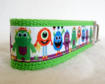 Monsters Key Chain - LIME Monster Key Fob - Wristlet Keychain - Silly Monsters Key Fob