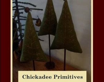 NEW Primitive Wool Embroidered ChristmasTrees PATTERN