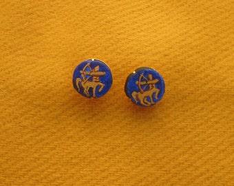 Order of the Sagittarius handpainted leather stud earrings