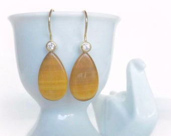 Tiger Eye Dangle Earrings - Natural Gemstone Teardrops - Gold Drop Earrings - Geology Jewelry