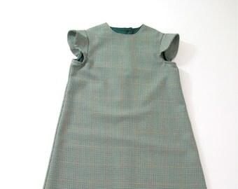 Girls' Sherlock Holmes Detective Dress Halloween Costume, Nancy Drew Costume Size 9/10 - Checked Dress with  Cap Sleeves