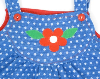 Vintage Carter's Girls' Size 6 Polyester Tunic Smock - Blue with Polka Dots and Red Daisy Applique - 70's Girls' Clothing