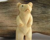 Bear Carved Bone Bead / Pendant Standing  Bear - Big Bear  2 inches (5cm) Tall  Stands Alone