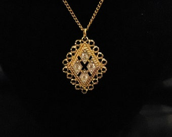 Gold Thin Chain Necklace Diamond Shaped Pendant Containing Clear Crystals Rhinestones Lacey Gold Edges by Sarah Coventry Vintage 1970's