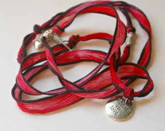 SALE Believe in Love Yoga Silk Ribbon Charm Bracelet : Natural Hand Dyed Wrap