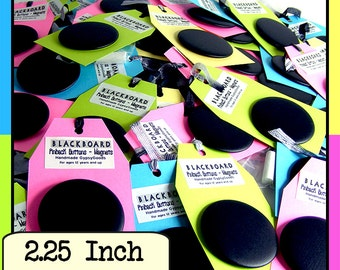 2.25in. (12) Chalkboard Pin Back Buttons Set of (12) Twelve 2.25 inch badges Nametag Blackboard Pinback Buttons Badges with starter chalk
