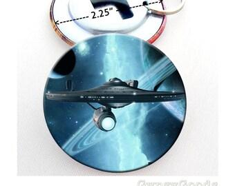 "2.25"" Star Trek Enterprise Bottle Opener 2.25 Inch Mylar covered Button with split Key Ring The USS Enterprise, Doomsday Machine"