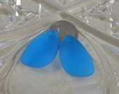 Pacific Blue Sea Glass Pendants pair 25x17mm teardrop matte frosted cultured drilled SGP-25x17-PACB