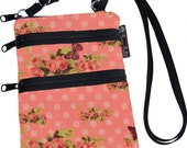 Ella Bella Purse - Cross body Purse - 3 Zippered Pocket - Adjustable Strap  Washable - FAST SHIPPING  Cell Phone Purse - Coarl Spring fabric