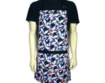 Bowling Pins Apron for Men, Chef Style Kitchen Apron with pocket, Adjustable,  Inspired by The Big Lebowski