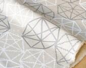 Japanese Fabric - precious jewels canvas - white, grey - 50cm