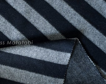 Japanese Fabric Double-Faced Yarn Dyed Wool - large stripes - dark navy - 50cm