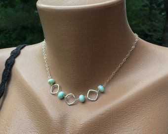 Amazonite Necklace, Sterling Silver, 18 Inch Long, Blue Stone, Genuine Gemstone, Nugget, Rustic, Hammered Silver, Ocean Blue, Seagreen