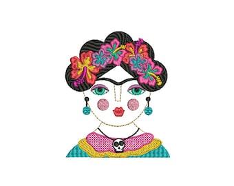 Whimsical Bohemian Frida Kahlo Machine Embroidery File design 5x7 hoop