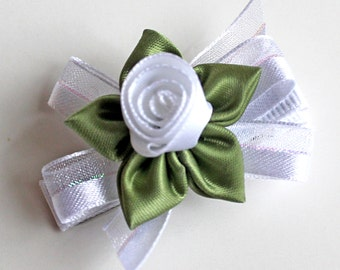 White Rosebud Hairbow. Baby Hair Clip With Non-Slip Grip. Flower Girls Hair Clips Set of 2. Toddlers Wedding Hairclips. Christening Hairbows