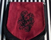 Pouch Spare Pocket Embroidery Goth Skull Spooky