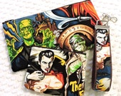 Rockabilly Wristlet Clutch Set - Retro Hollywood Monsters Gift Set - Handmade Scary Monsters Zipper Pouch Set - Detachable Wristlet Key Fob