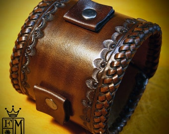 Leather cuff Bracelet Brown Vintage style braided edge, hand tooled, Fine quality Made for YOU in NYC by Freddie Matara