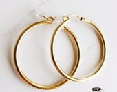 35mm (1.5 inch) 2.3mm Thick 14K Gold Filled Hoop Earrings Earwires F187GF