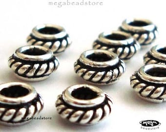 10 pcs 6mm Antique Spacers Bali 925 Sterling Silver Oxidized S51