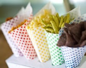 24 polka dot paper cones - red, green, yellow, green, blue, or purple