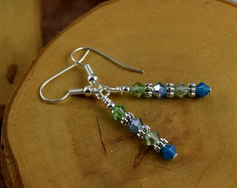 LAGOON blue and green Les Petite Cristaux Swarovski crystals handcrafted earrings gorgeous and still affordable