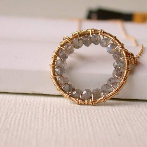 Gemstone Encrusted Labradorite Hoop Necklace. Wire wrapped Circle Necklace.