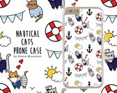 iPhone 6s Case Nautical Sailor Cats Samsung Galaxy Note 4 Galaxy S6 Case