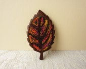 Embroidery and Wooden Leaf Brooch