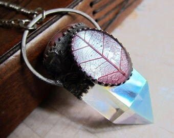 In the Bower of Titania - Magical Quartz Talisman Pendant with Color-shifting Skeleton Leaf Cabochon