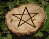 English Oak Wood Pentagram Altar piece - Wicca, Witchcraft, Pagan, Pentacle, Ritual, Magic, Handcrafted, Pyrography